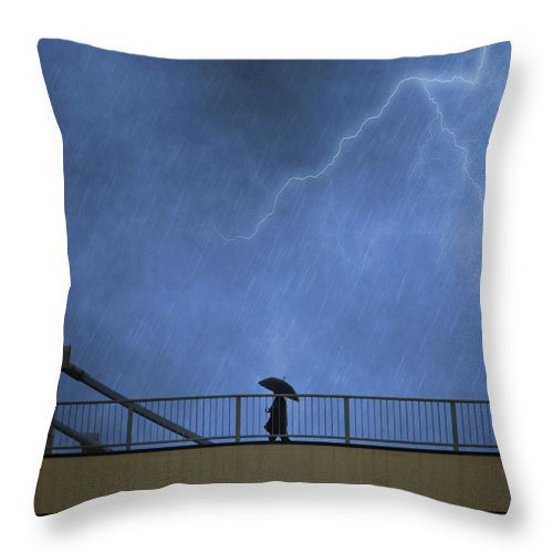 Bridge Throw Pillow featuring the photograph Strolling In The Rain by Juli Scalzi