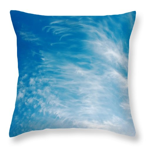 Backgrounds Throw Pillow featuring the photograph Strong Winds Forming Cirrus Clouds With A Deep Blue Sky. by Jan Brons
