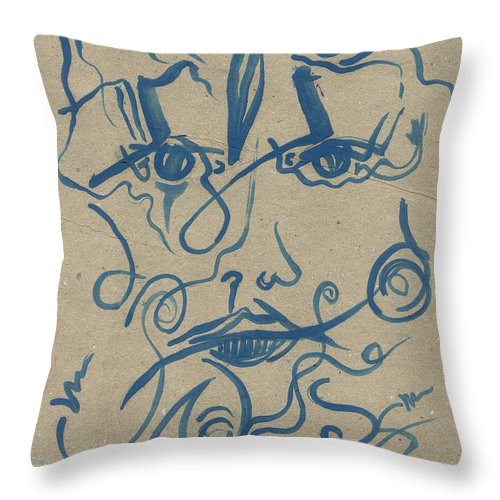 Cathy Peterson Throw Pillow featuring the painting Structure Elements Emotions Face by Cathy Peterson