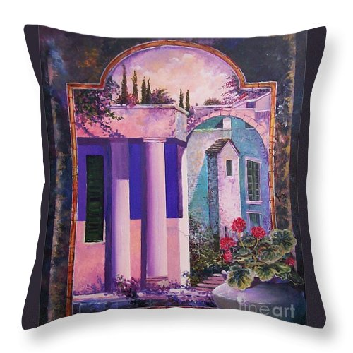 Still Life Throw Pillow featuring the painting Structures With Emotional Dimensions by Sinisa Saratlic