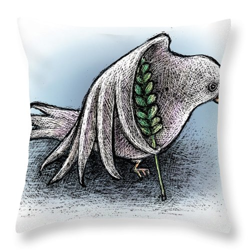 Peace Throw Pillow featuring the drawing Struggling Peace by Chris Van Es
