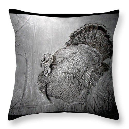 Full Strut Turkey Fine Art Throw Pillow featuring the mixed media Strutter by Hank Bufkin