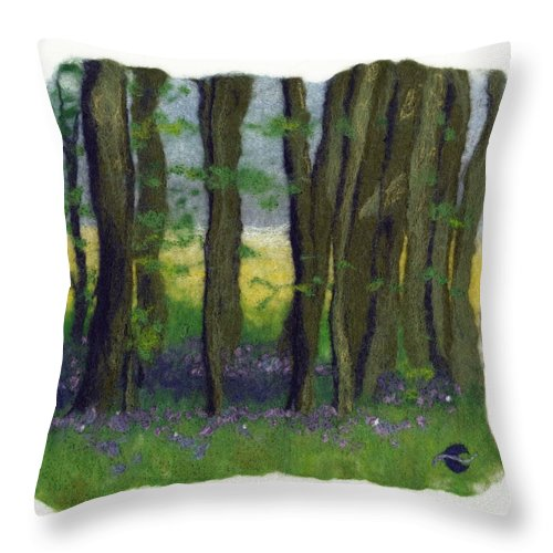 Landscape Throw Pillow featuring the tapestry - textile Stubb Wood by Bridget Karn