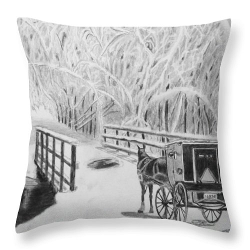 Horse Throw Pillow featuring the drawing Stubborn Horse by Quwatha Valentine