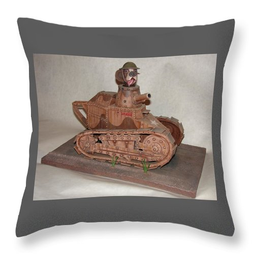 Tank Throw Pillow featuring the sculpture Stubby's Tank by Stuart Swartz