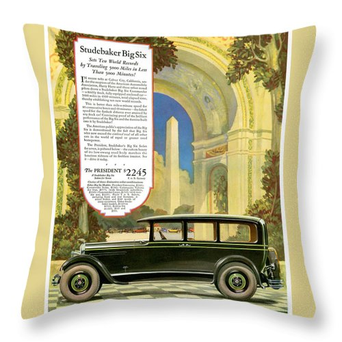 Advertisement Throw Pillow featuring the drawing Studebaker Big Six - Vintage Car Poster by World Art Prints And Designs