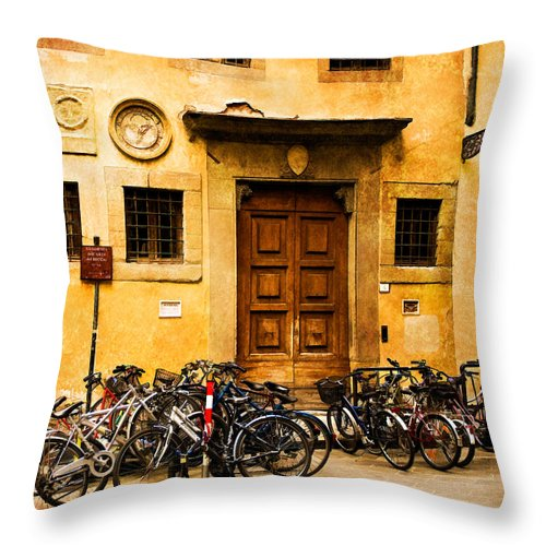 Florence Throw Pillow featuring the photograph Student Parking by Mick Burkey