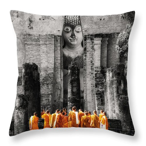 Monks Throw Pillow featuring the photograph Students by Tassanee Angiolillo
