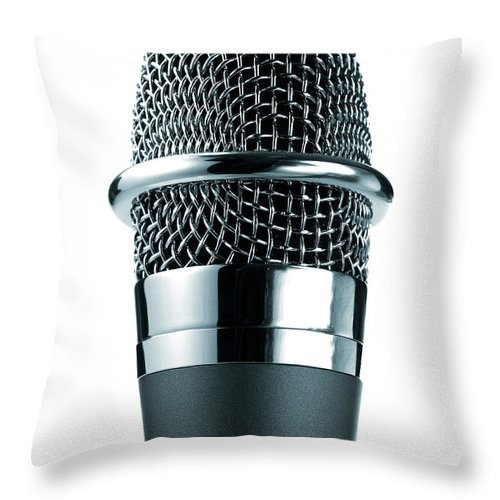 White Background Throw Pillow featuring the photograph Studio Shot Of Microphone On White by David Arky