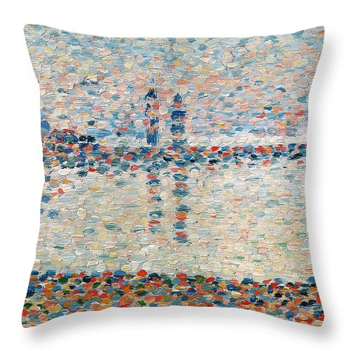 Seurat Throw Pillow featuring the painting Study For The Channel At Gravelines Evening by Georges Pierre Seurat