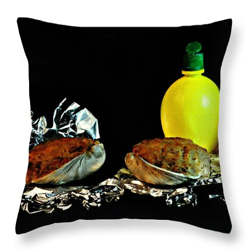 Food Throw Pillow featuring the photograph Stuffed Clams by Diana Angstadt