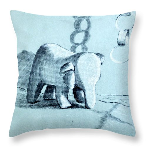 Stuffed Animal Throw Pillow featuring the drawing Stuffed Elepahnt And Paper Chain by Art By - Ti  Tolpo Bader