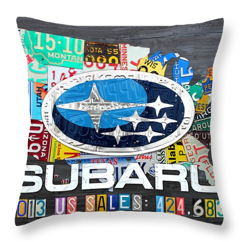 Subaru Throw Pillow featuring the mixed media Subaru License Plate Map Sales Celebration Limited Edition 2013 Art by Design Turnpike
