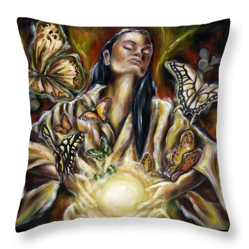 Asian Woman Throw Pillow featuring the painting Sublimation by Hiroko Sakai