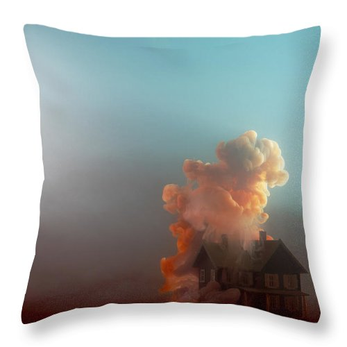 Model House Throw Pillow featuring the photograph Submerged House by Paul Taylor