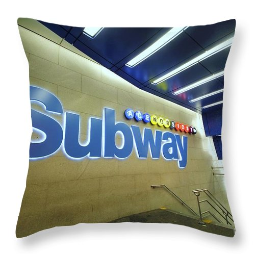 Subway Throw Pillow featuring the photograph Subway Entrance # 2 by Allen Beatty