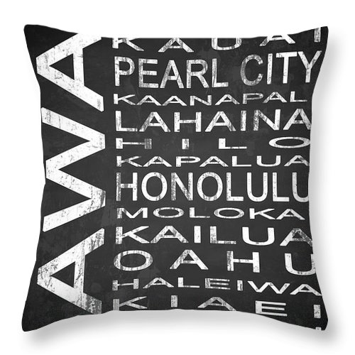 Subway Sign Throw Pillow featuring the digital art Subway Hawaii State 1 by Melissa Smith