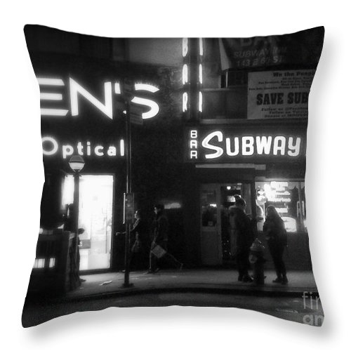 Travel Photography Throw Pillow featuring the photograph Subway Inn - Vanishing Places Of New York by Miriam Danar