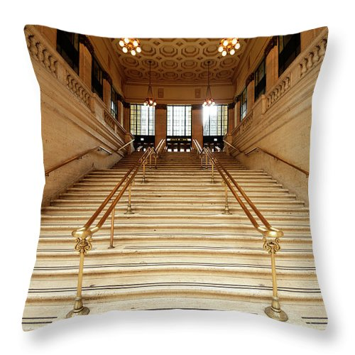 Steps Throw Pillow featuring the photograph Subway Station Staircase,chicago by Lisa-blue