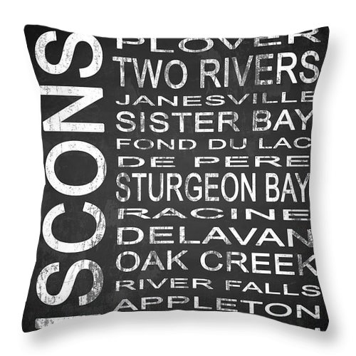 Subway Sign Throw Pillow featuring the digital art Subway Wisconsin State 1 by Melissa Smith