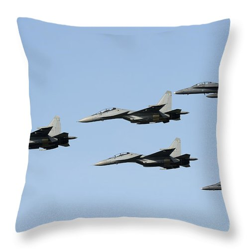 Horizontal Throw Pillow featuring the photograph Sukhoi Su-30 Mkm Aircraft And Fa-18 by Remo Guidi