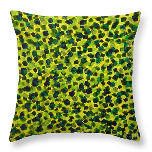 Abstract Throw Pillow featuring the painting Sunlight Through The Trees 2 by Dean Triolo