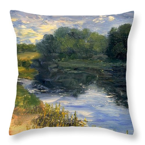 Landscape Throw Pillow featuring the painting Summer At Jackson Lake by Gail Kirtz