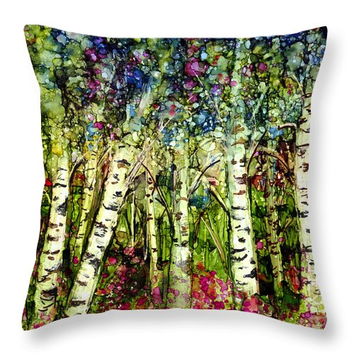 Trees Throw Pillow featuring the painting Summer Birch by Francine Dufour Jones