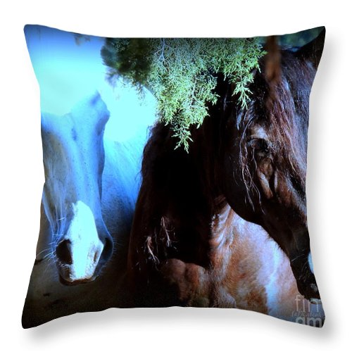 Horses Throw Pillow featuring the photograph Summer Breeze by Rabiah Seminole