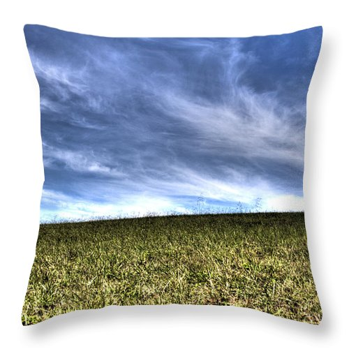 Todd Carter Summer Breeze Hdr Blue Green Yellow Brown Grass Sky Cloud Clouds Wind Outside Field Country Photo Pic Picture Late Farm Shadow Throw Pillow featuring the photograph Summer Breeze by Todd Carter