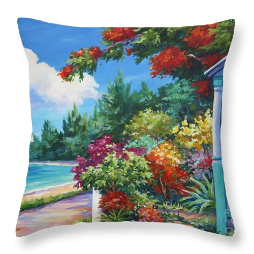 Art Throw Pillow featuring the painting Summer Colors by John Clark
