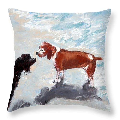 Animal Throw Pillow featuring the painting Summer Crush by Shelley Koopmann