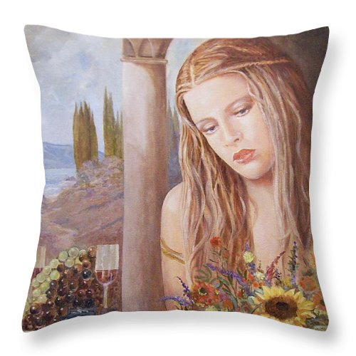 Portrait Throw Pillow featuring the painting Summer Day by Sinisa Saratlic