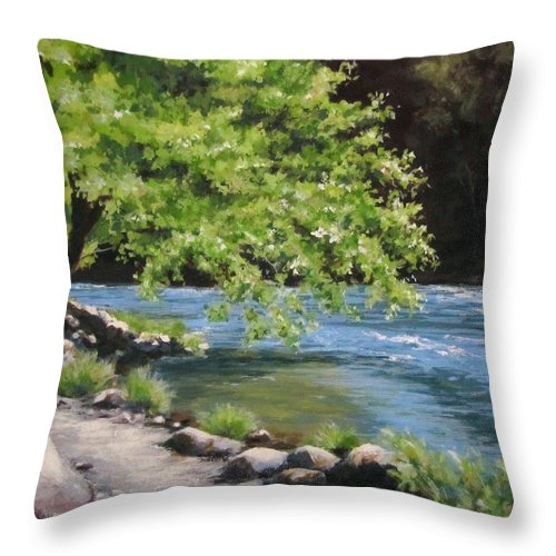 Landscape Throw Pillow featuring the painting Summer Dreams by Karen Ilari