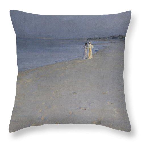 Peder Severin Kroeyer Throw Pillow featuring the painting Summer Evening At Skagen Soender Beach by Peder Severin Kroeyer