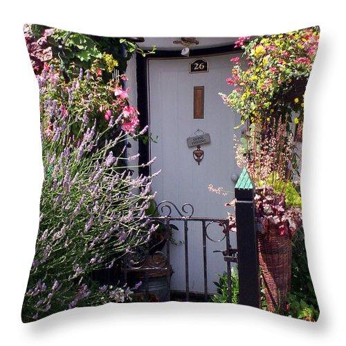 Clovelly Throw Pillow featuring the photograph Summer Flowers Clovelly Devon by Rodger Insh