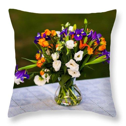 Arrangement Throw Pillow featuring the photograph Summer Flowers Featured 3 by Alexander Senin