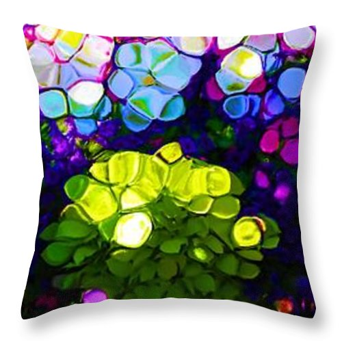 Summer Flowers In The Country Throw Pillow featuring the mixed media Summer Flowers In The Country by Dan Sproul