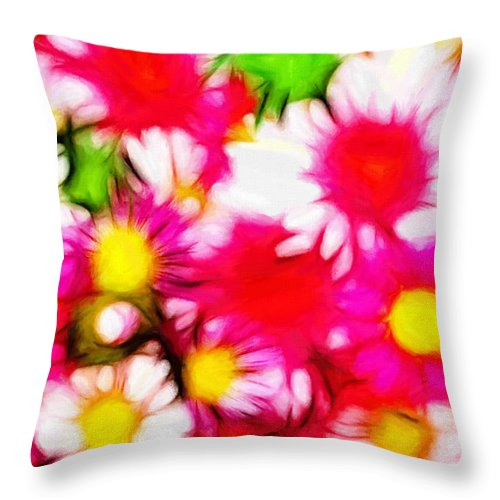 Pastel Painting Summer Garden Flower Flowers Color Colorful Expressionism Abstract Nature Impressionism Throw Pillow featuring the painting Summer Garden by Steve K