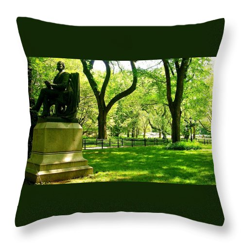Central Park Prints Throw Pillow featuring the photograph Summer In Central Park Manhattan by Monique's Fine Art