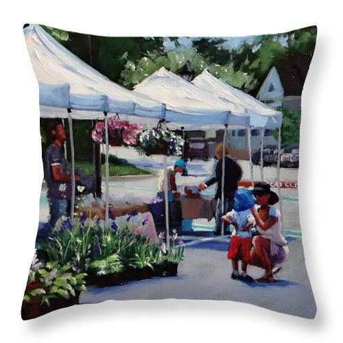 Hingham Throw Pillow featuring the painting Summer In Hingham Two by Laura Lee Zanghetti