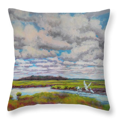 Impressionism Throw Pillow featuring the painting Summer Marsh by Keith Burgess