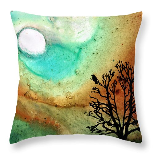 Moon Throw Pillow featuring the painting Summer Moon - Landscape Art By Sharon Cummings by Sharon Cummings