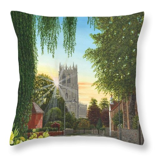 Landscape Throw Pillow featuring the painting Summer Morning St. Mary by Richard Harpum