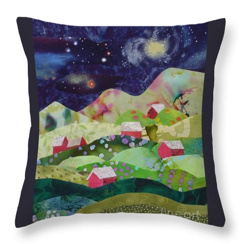 Landscape Paintings Throw Pillow featuring the mixed media Summer Night by Susan Minier