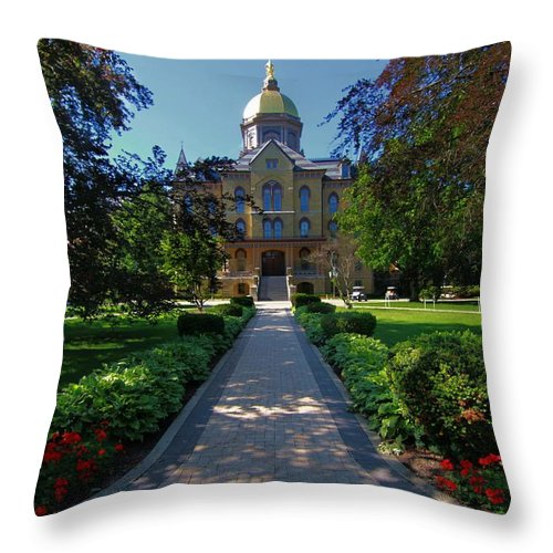 Summer On Notre Dame Campus Throw Pillow featuring the photograph Summer On Notre Dame Campus by Dan Sproul