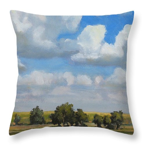 Landscape Throw Pillow featuring the painting Summer Pasture by Bruce Morrison