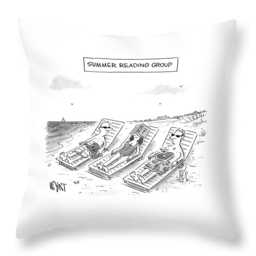 Reading Throw Pillow featuring the drawing Summer Reading Group -- Three Beach Goers Lounge by Christopher Weyant