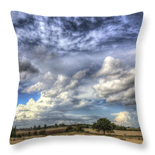 Farm Throw Pillow featuring the photograph Summer Sky Farm by David Pyatt