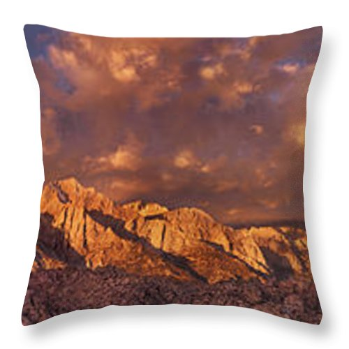 North America Throw Pillow featuring the photograph Summer Storm Clouds Over The Eastern Sierras California by Dave Welling